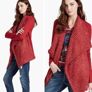 Lucky Brand Red Textured Drape Front Cardigan M